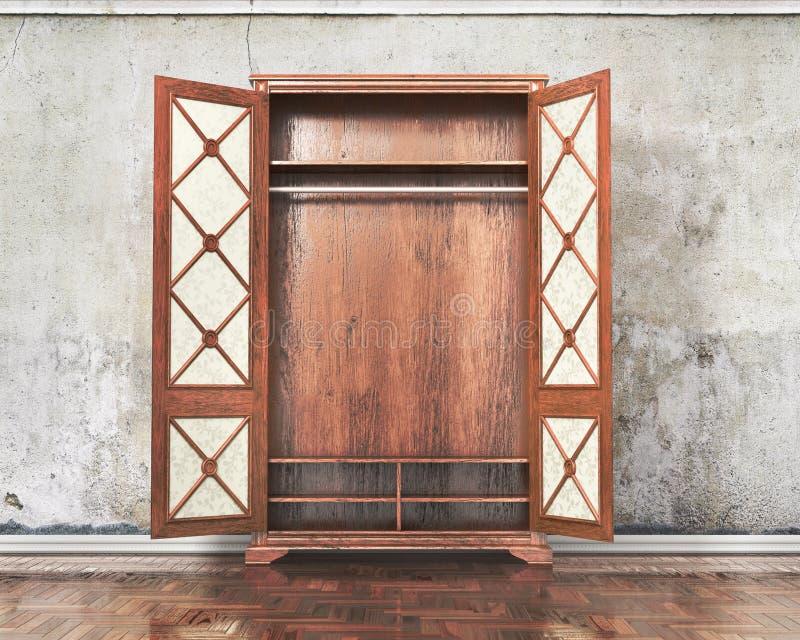 Open oude kast dichtbij gepleisterd muur royalty-vrije illustratie