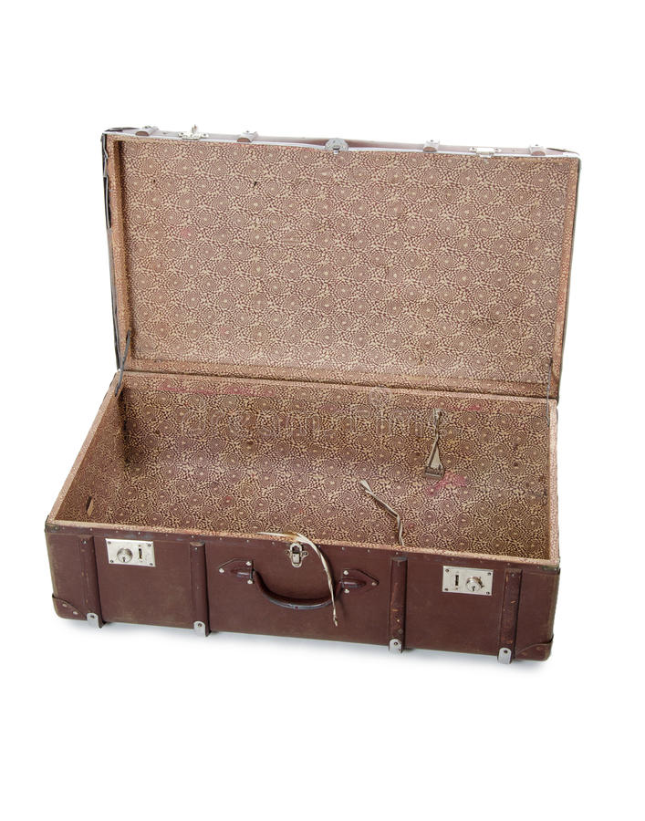 Open oude koffer stock afbeeldingen