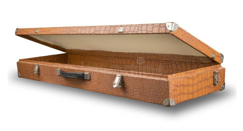 Open, oude koffer van krokodilhuid royalty-vrije stock foto