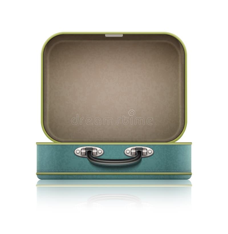 Open oude retro uitstekende koffer voor reis royalty-vrije illustratie