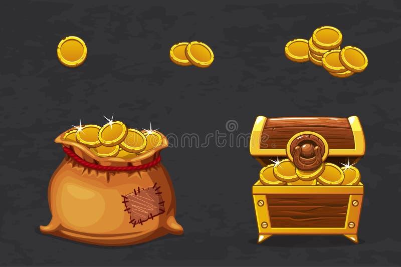 Open oude zak en het houten geld van de borst Oude piraat voor winnaar Vector de muntstukkenpictogrammen van de beeldverhaalillus vector illustratie