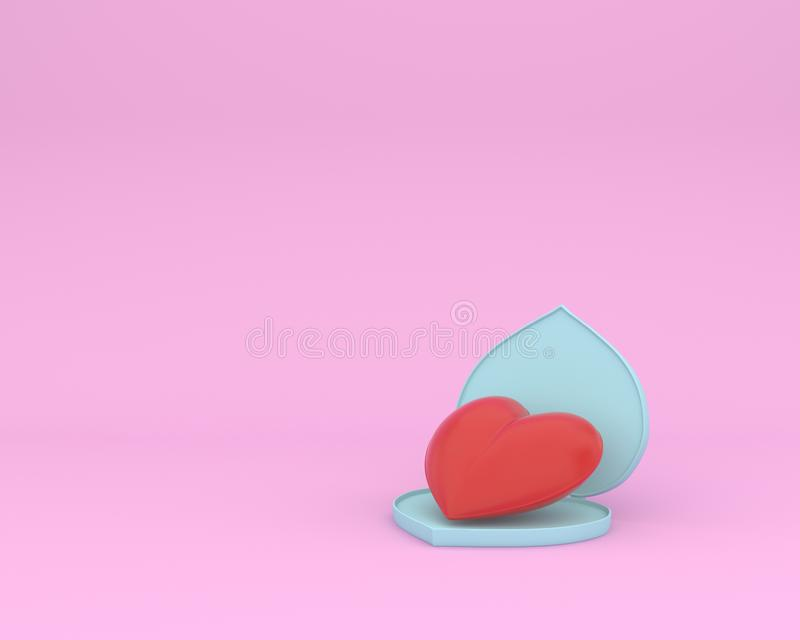 Open outstanding red heart shape on pink pastel background. minimal special occasion concept. idea of love and valentine day. Open outstanding red heart shape royalty free illustration