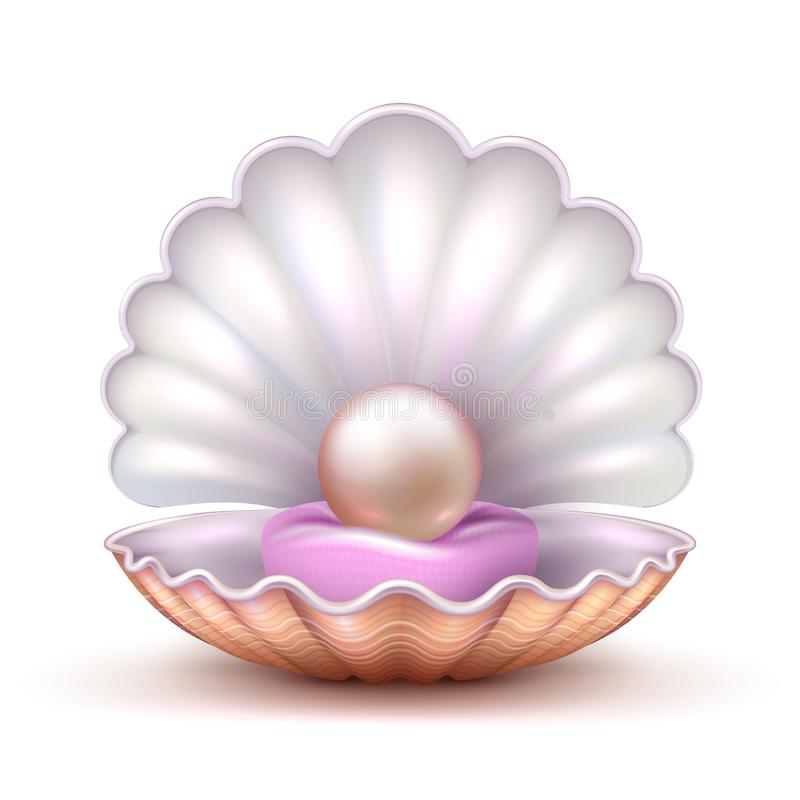 Open oyster sea shell with valuable pearl isolated. Realistic 3d vector illustration. Pearl and shell, valuable treasure shine vector illustration