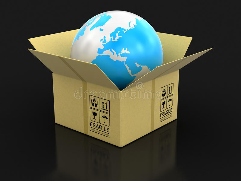 Open package with Globe. Image with clipping path stock illustration