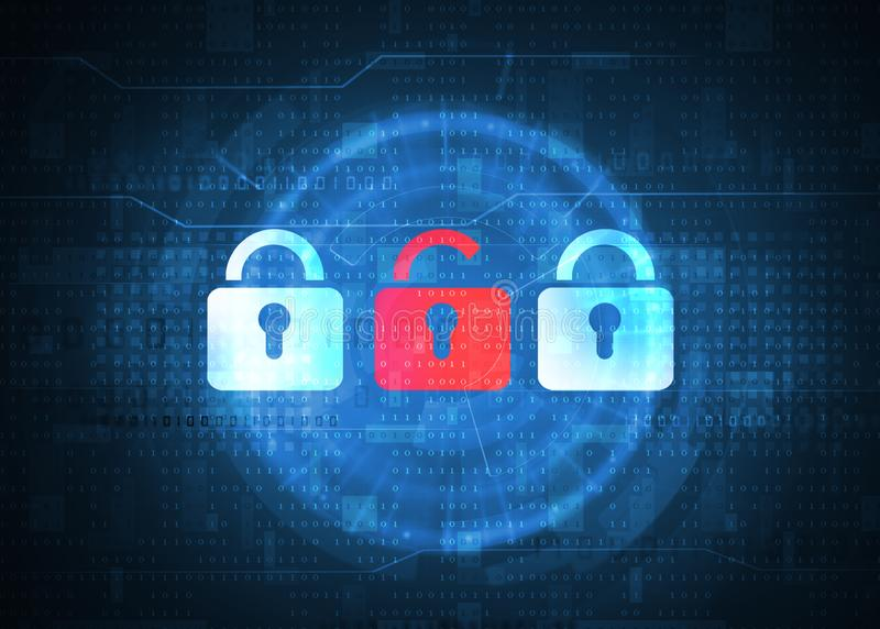 Open padlock symbol over binary data background. Internet security and safety concept stock image