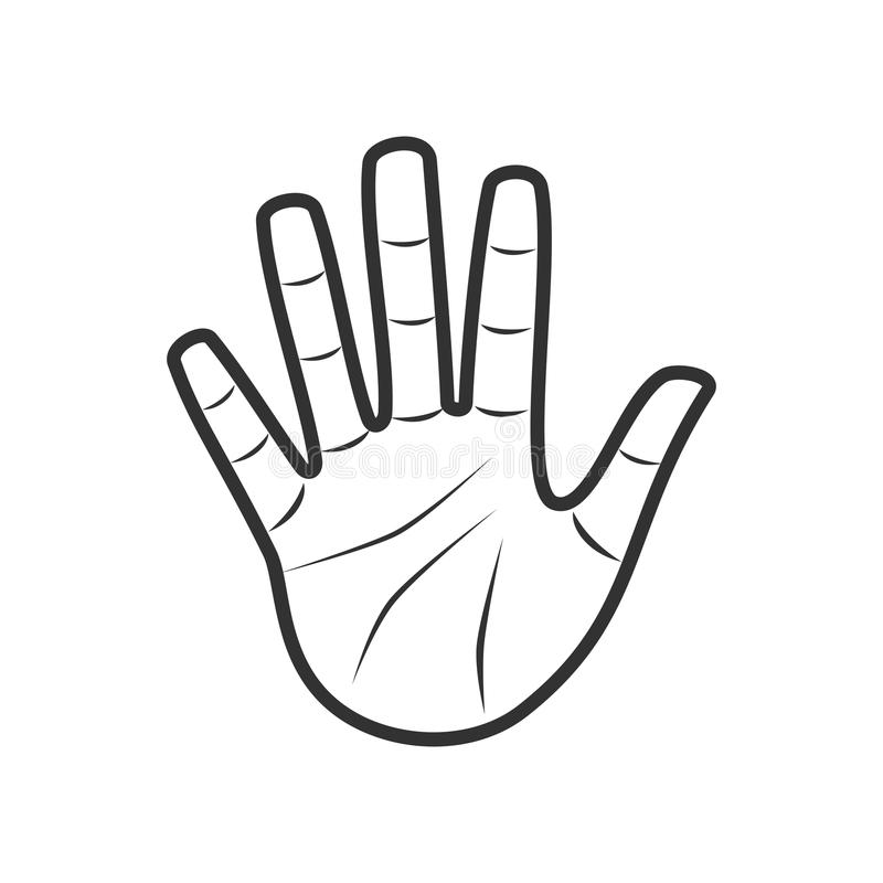 Free Open Palm Hand Outline Flat Icon On White Stock Images - 123467634