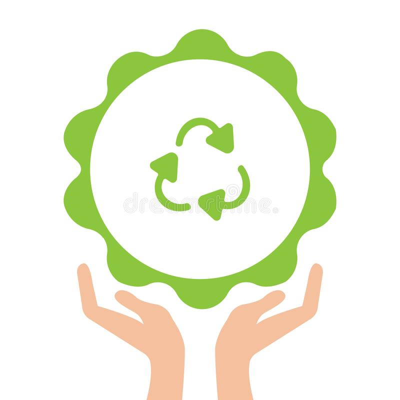 Open arms with recycling sign glyph color icon. Pollution prevention. Silhouette symbol. Waste recycling. Negative space royalty free illustration