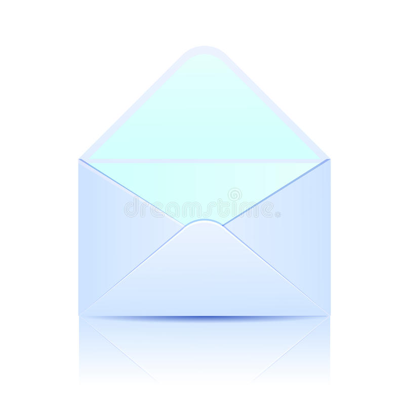 Free Open Paper Envelope Of Blue Color On A White Backg Stock Images - 29334624