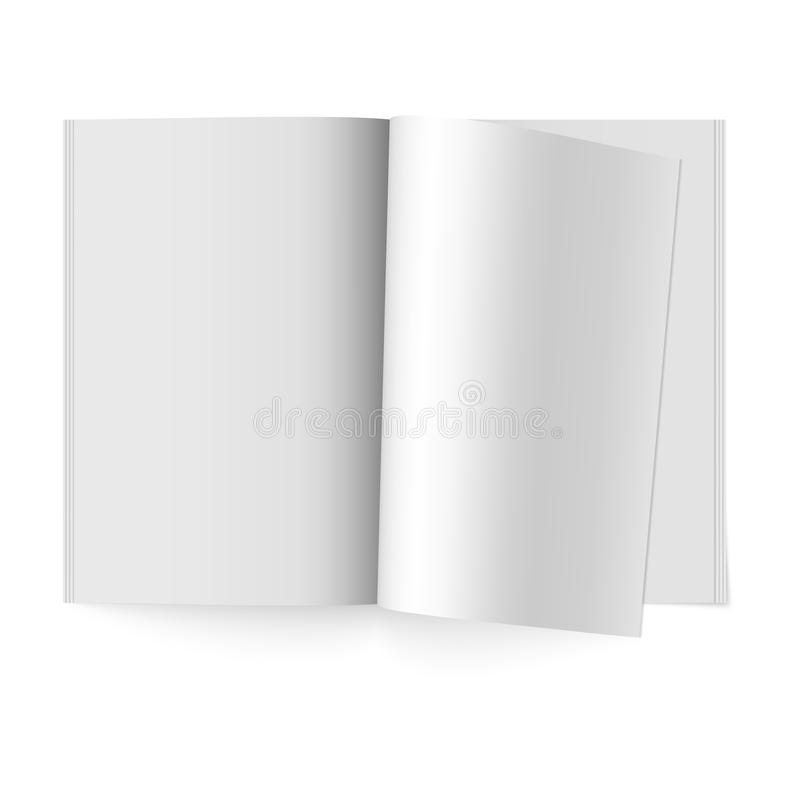 Open the paper journal. Vector mock up of booklet isolated. Opened vertical magazine, brochure or notebook template. Open paper journal. Vector mock up of royalty free illustration