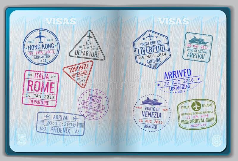 Open passport for foreign traveling stock illustration