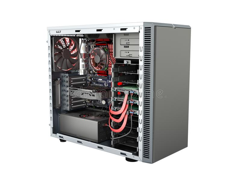 Open PC case with internal parts motherboard cooler video card p. Ower supply HDD drives 3d render on white no shadow vector illustration