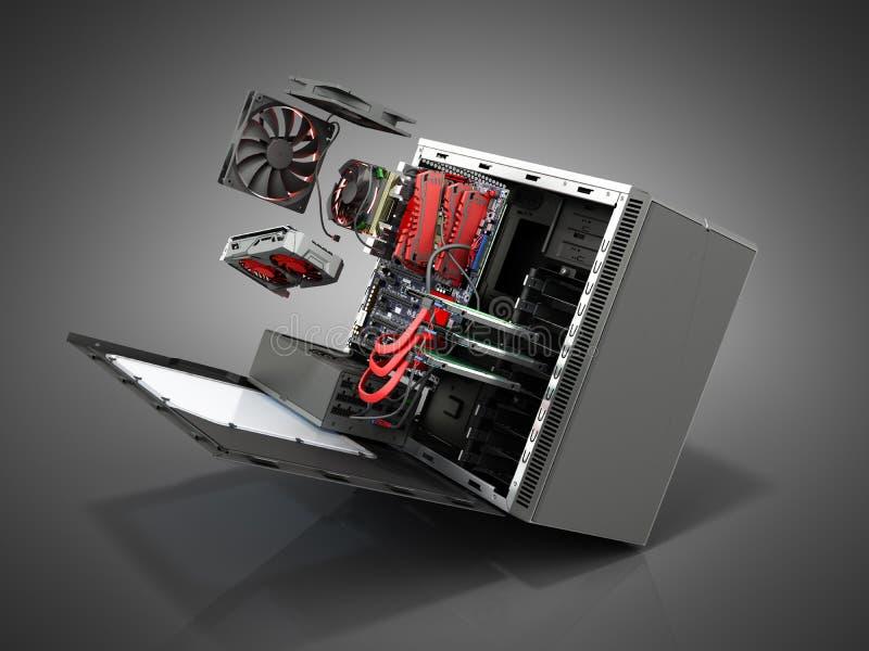 open PC-geval met interne delenmotherboard koelere videokaart p royalty-vrije stock foto