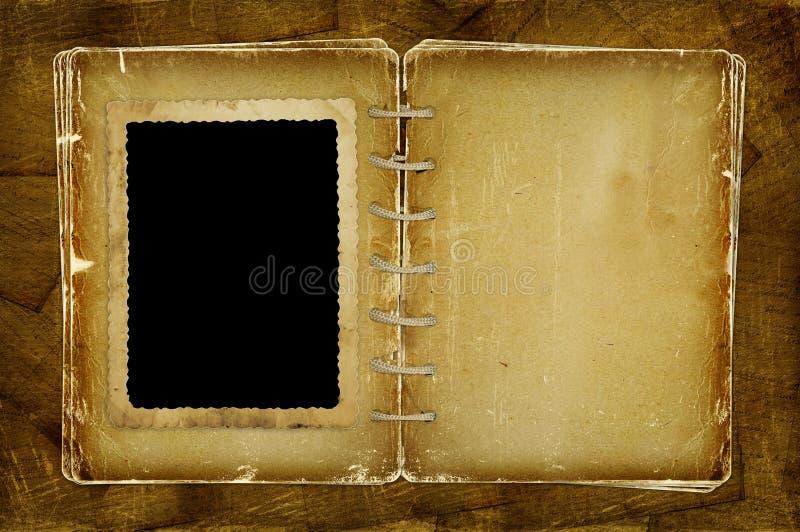 Open photoalbum met frame voor foto en nota's vector illustratie
