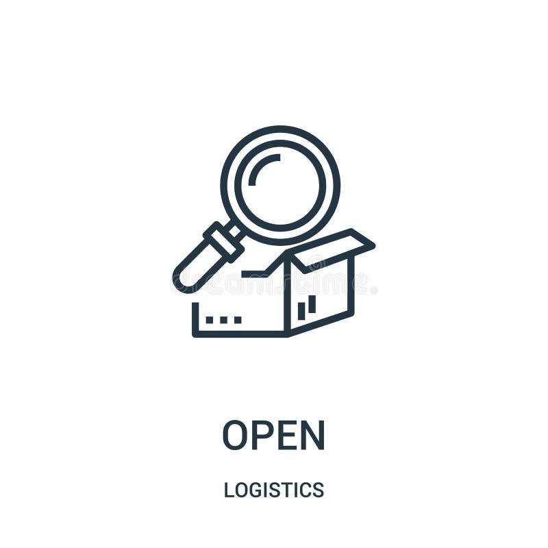 open pictogramvector van logistiekinzameling Dunne het pictogram vectorillustratie van het lijn open overzicht Lineair symbool vo stock illustratie