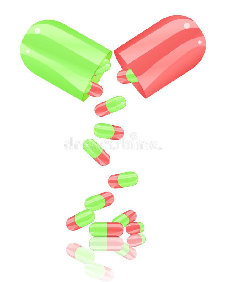 Open pill capsule royalty free stock photography