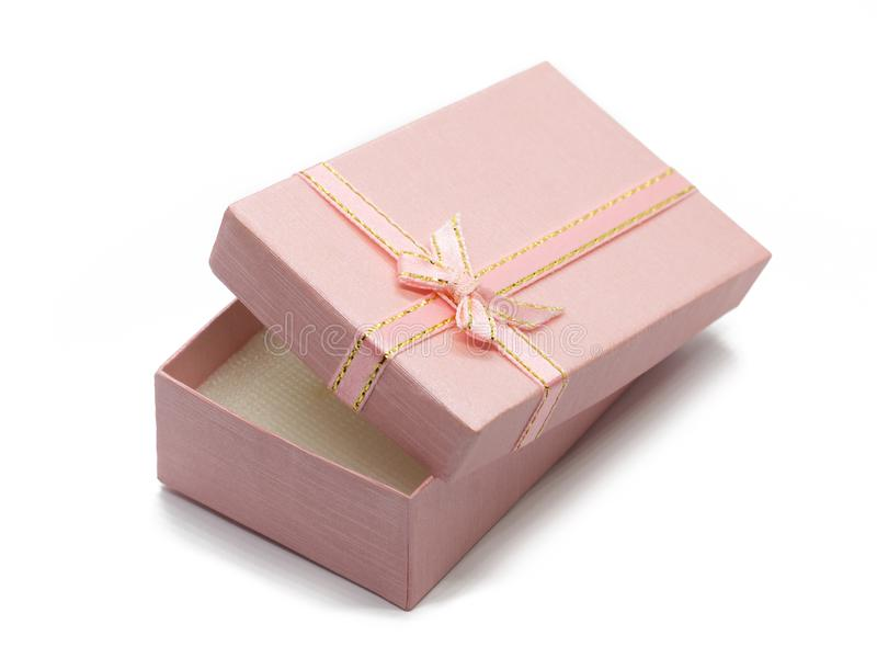 Open pink gift box with a bow royalty free stock photos