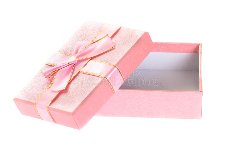 Open pink gift box isolated on white. stock photography