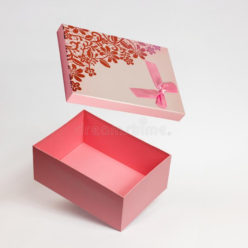 Open Pink gift box isolated on white background royalty free stock photos