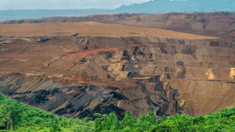 Open pit coal mining, Sangatta, Indonesia. Open pit coal mining in Sangatta, Indonesia with green vegetation as the foreground stock photography