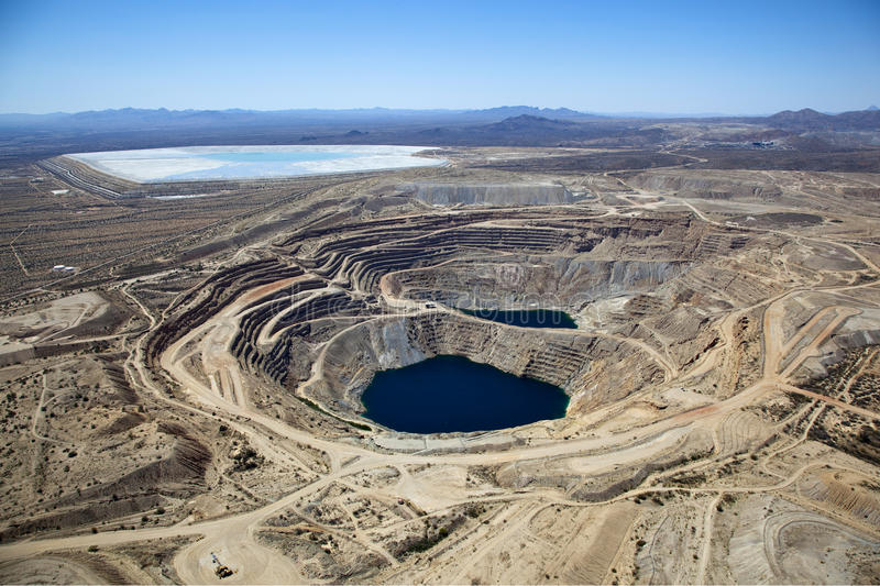 Open Pit Copper Mine. Aerial view of Open Pit Copper Mine near Green Valley, Arizona stock photography