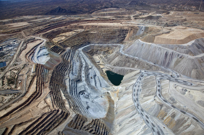 Open Pit Copper Mine. Aerial view of Open Pit Copper Mine near Green Valley, Arizona royalty free stock image