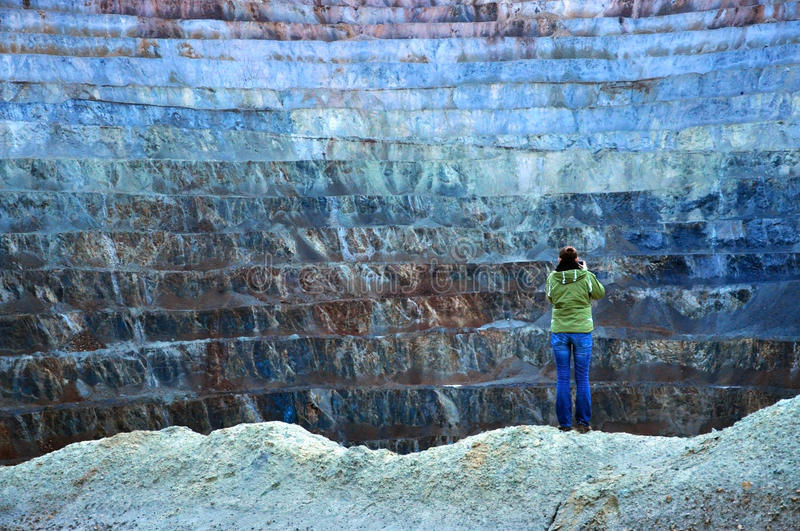 Open pit gold mine in Rosia Montana, Romania stock images