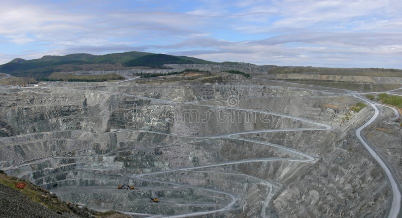 Open Pit Mine. Panoramic view of an open pit mine, Thetford, Mines, Quebec stock images