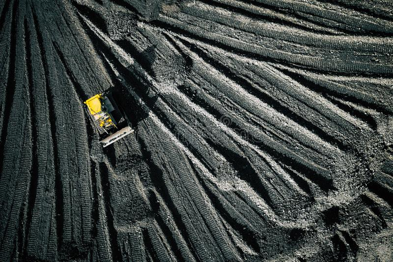 Open pit mine. Aerial view of extractive industry for coal. Top view. Photo captured with drone.  royalty free stock photography