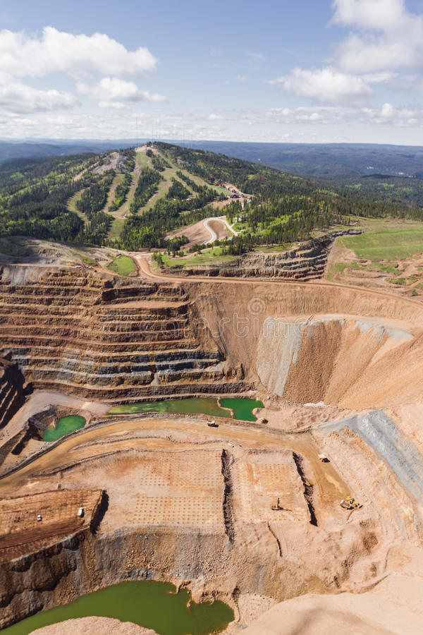 Open pit mine. Aerial view of an open pit mine in South Dakota stock images