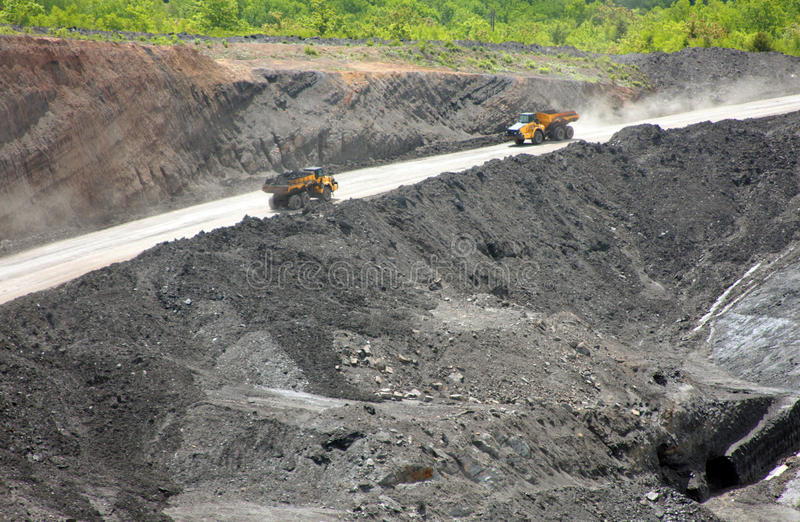 Stellerton Open Pit Mine. Deep Open pit coal mine stock image