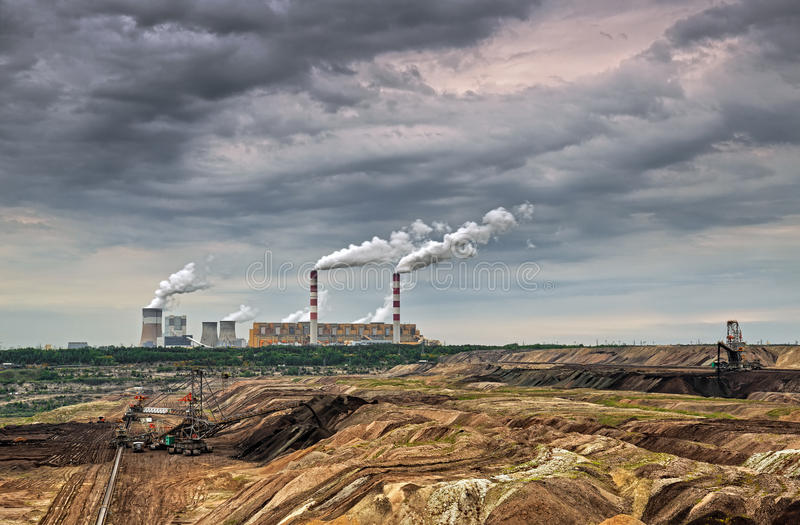Open pit mine and power plant. HDR - high dynamic range royalty free stock image