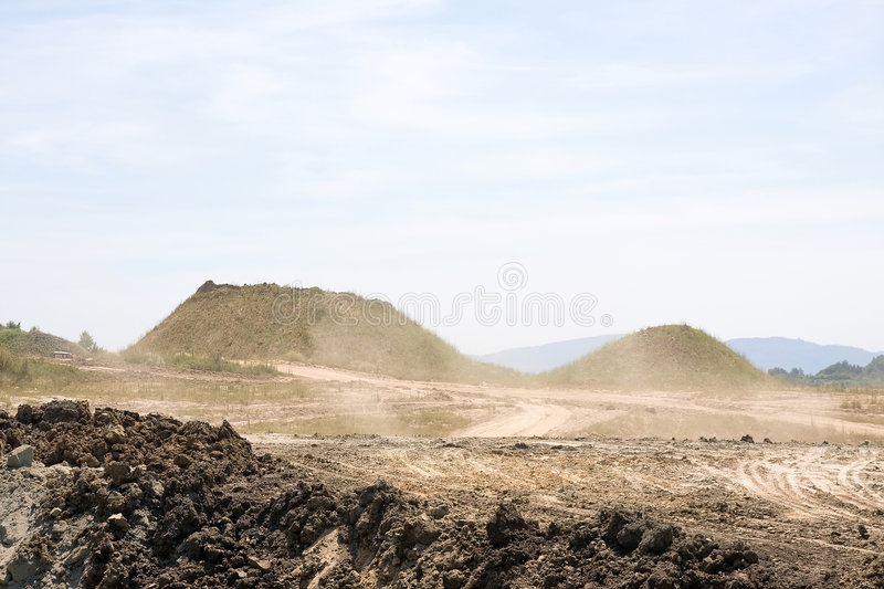 Open pit mining. A open pit mining site stock photo