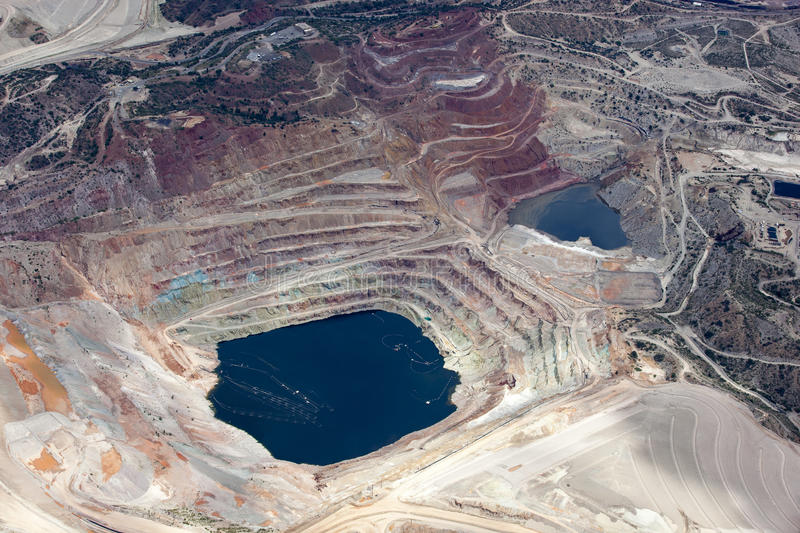 Open Pit Mining. Aerial view of an open pit mining in Arizona stock images
