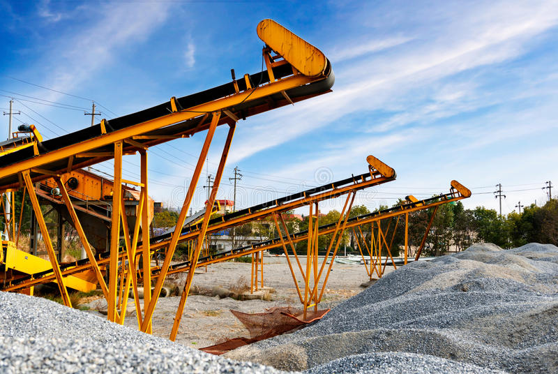 Open pit mining and processing plant for crushed stone stock photography