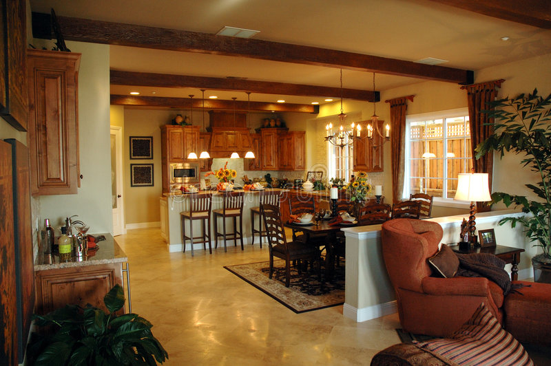 Open plan kitchen area stock photo image of bowl doors for Open country kitchen floor plans