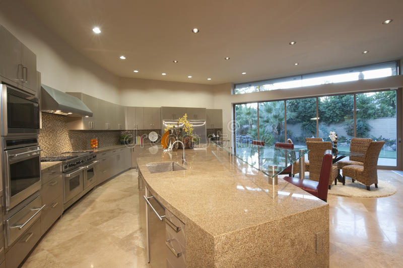 Open Plan Kitchen With Dining Area royalty free stock images
