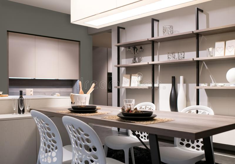 Open plan kitchen and dining room stock images