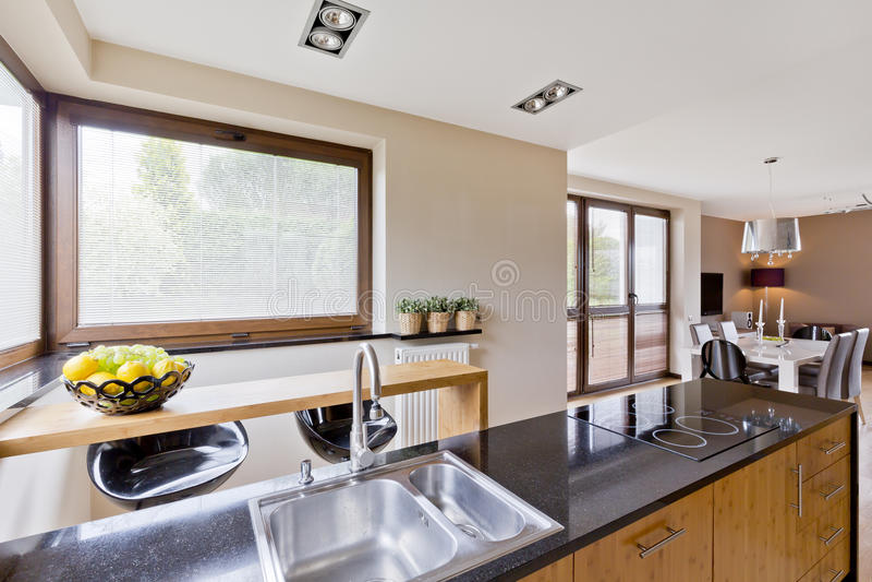 Open plan kitchen stock photography