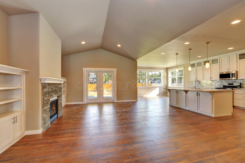 Open Plan Living Room Interior With Lots Of Space Stock
