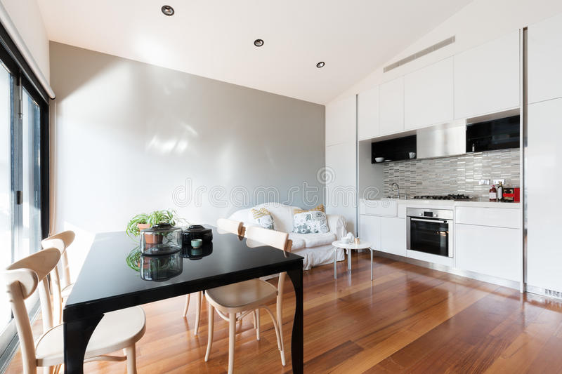 Open plan small apartment with kitchenette dining table and sofa. Open plan small apartment with kitchenette, dining table and sofa stock photography