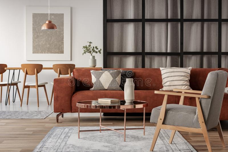 Open plan studio apartment with living and dining area royalty free stock image