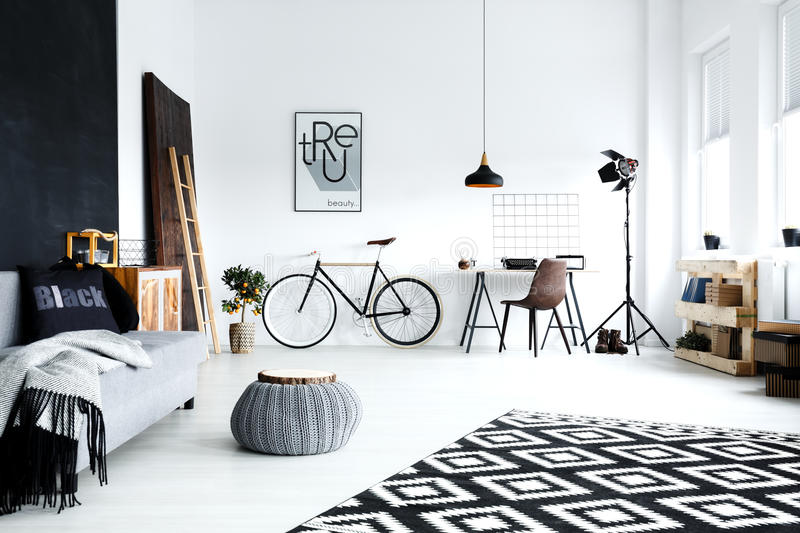 Open plan, white studio flat royalty free stock photo