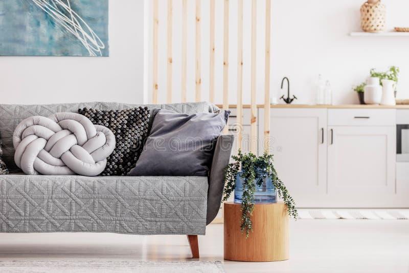 Open planzitslaapkamer met kleine witte keuken en woonkamer met grijze laag en houten koffietafel stock afbeeldingen