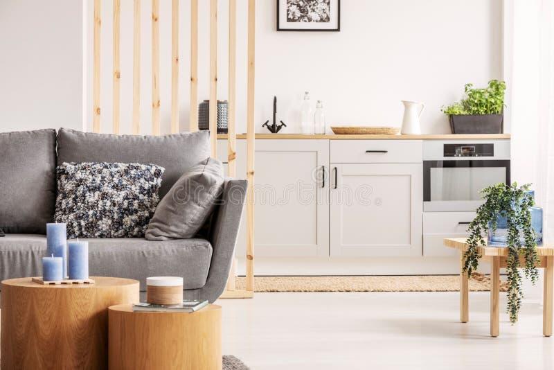 Open planzitslaapkamer met kleine witte keuken en woonkamer met grijze laag en houten koffietafel stock foto's