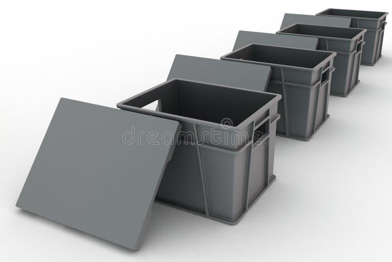 Open plastic containers met deksels stock illustratie