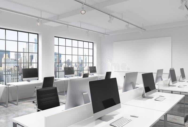 Open plekbureau met computers vector illustratie