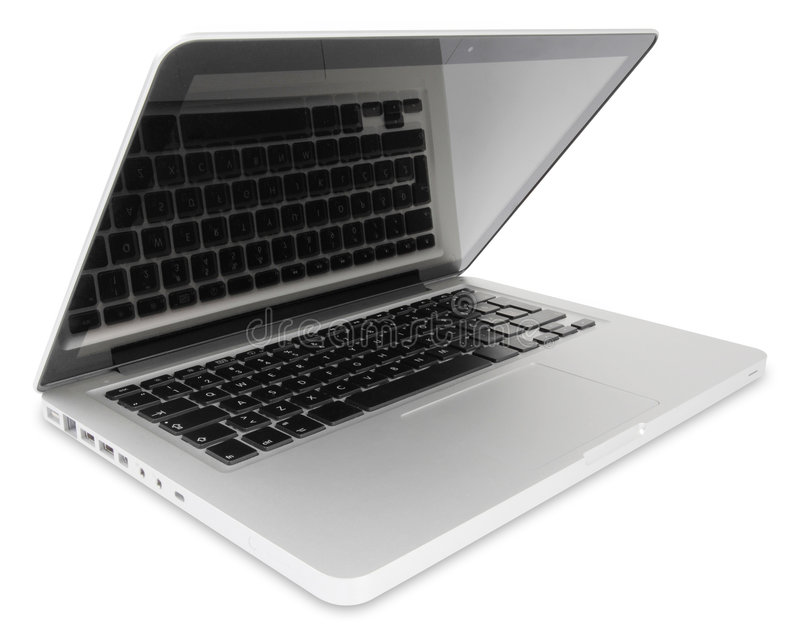 Open portable computer. Slightly open silver portable computer with keyboard reflection on the screen, with clipping path and shadow royalty free stock photo