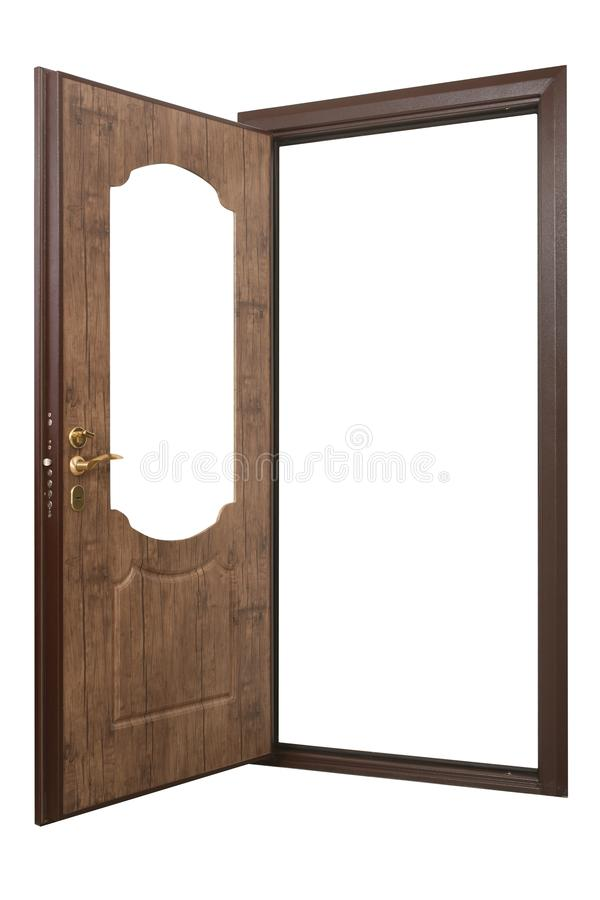 Open powerful metal safe-door with natural wood paneling royalty free stock images