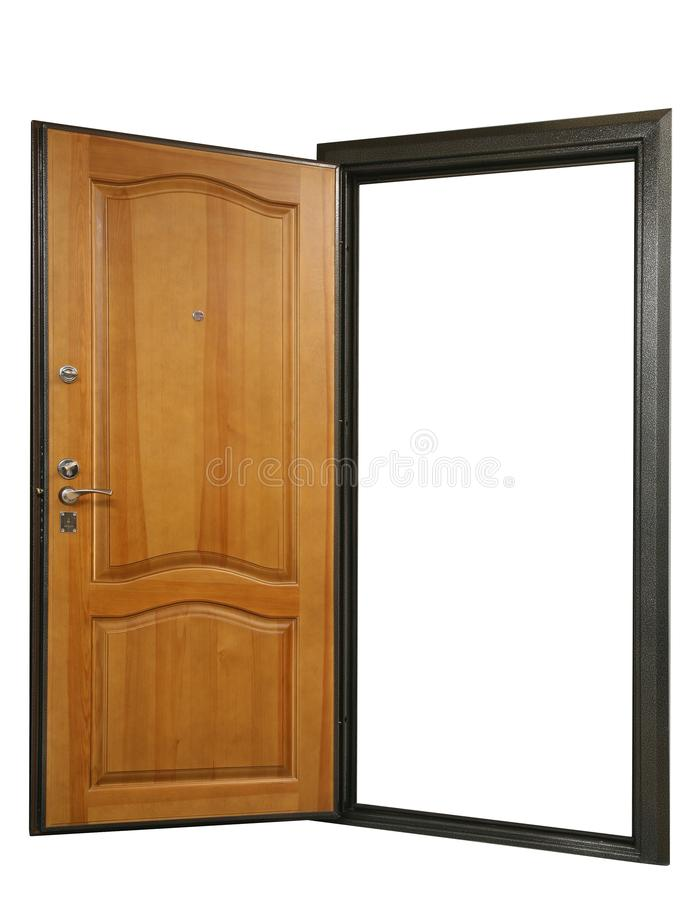 Open powerful metal safe-door with natural wood paneling royalty free stock photo