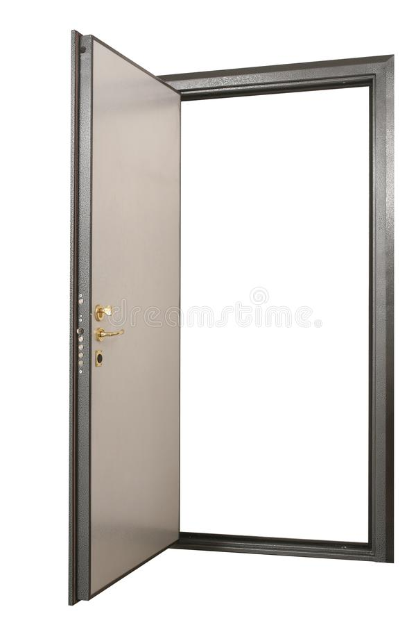 Open powerful metal safe-door with natural wood paneling royalty free stock image